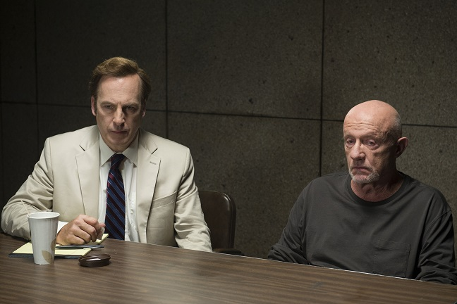 Better Call Saul cast members: Jimmy McGill (Bob Odenkirk) with Mike Ehrmantraut (Jonathan Banks) - Photo Credit: Ursula Coyote for Netflix, Inc.